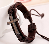 Handmade Prayer Cross Genuine Leather Bracelet Men Women