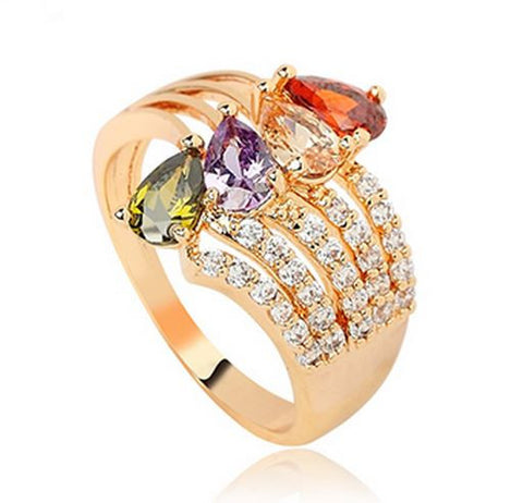 LUXURY CRYSTAL ROSE GOLD PLATED CUBIC ZIRCONIA RING