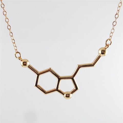 Gold Plated Serotonin Molecule Necklace