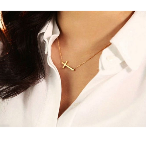 Silver Gold Plated Horizontal Sideways Cross necklace