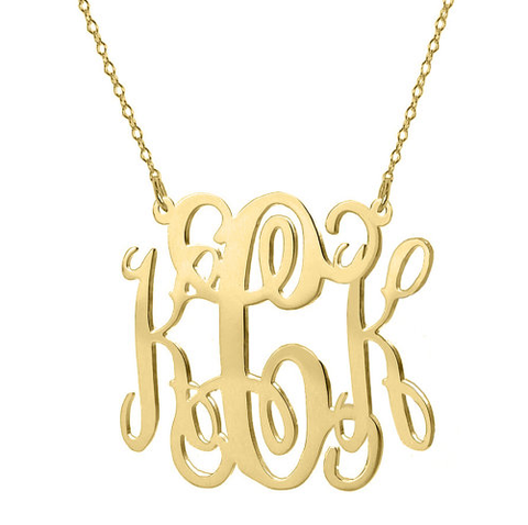 Celebrity Style Gold Plated Personalized Monogram Necklace