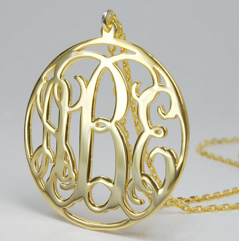 Celebrity Style Gold Plated Circle Monogram Necklace