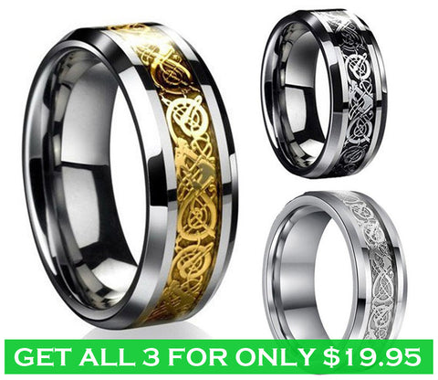 316L Stainless Steel Unisex Celtic Dragon Ring