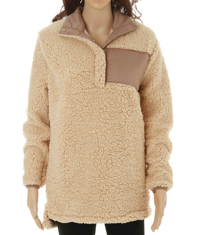 Tan Sherpa Pullover Women Bridesmaid Gift Office Oversized weatshirt Hoodie