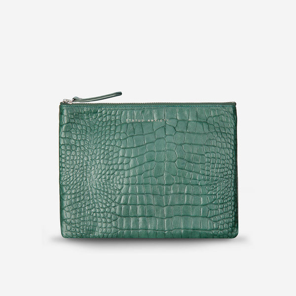 FAKE IT CLUTCH (teal croc)