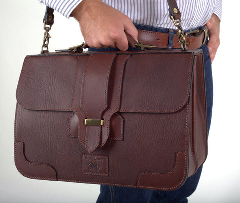 Leather Briefcase Plainsman Single Latch