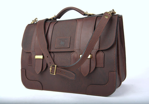 Leather Briefcase Plainsman Double Latch