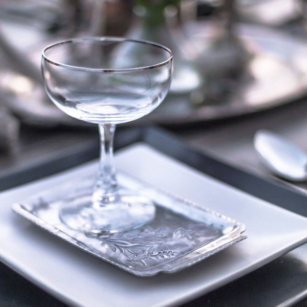 Silver Rimmed Champagne Coupes