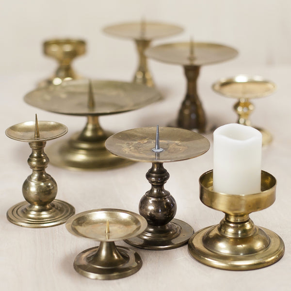 Vintage Brass, Pillar Candle Holders
