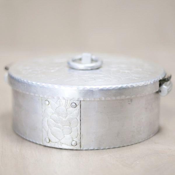 Aluminum and Glass Serving Dish