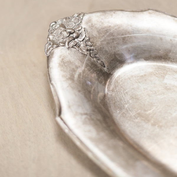 Oval Vintage Silver Shallow Bowl