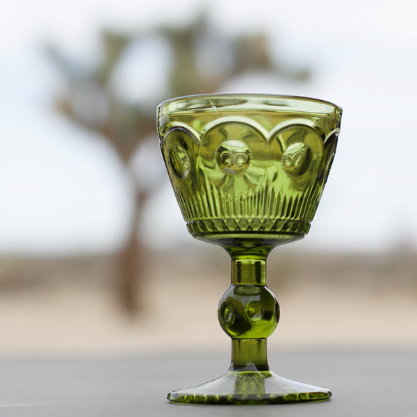 Vintage Green Glass Goblets, Small