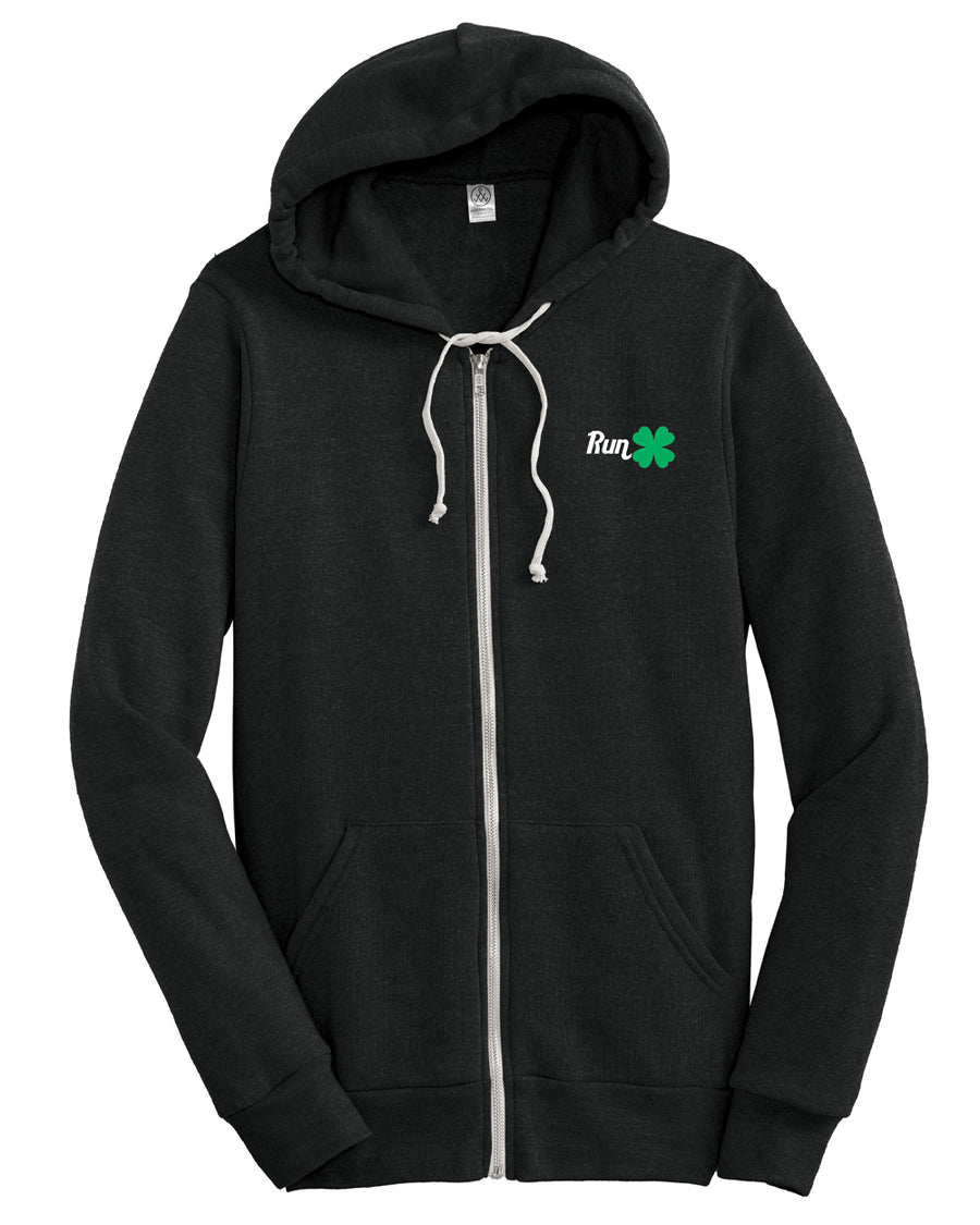 RUN Clover Full Zip Hoodie - Black