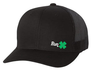RUN CLOVER Snapback Hats - Black