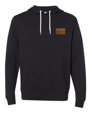 RUNGOOD Leather Patch Hoodie - Black