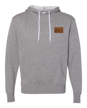 RUNGOOD Leather Patch Hoodie - Heather Gray