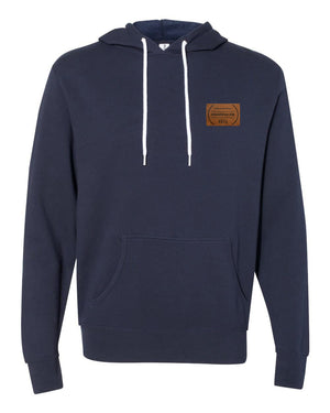 RUNGOOD Leather Patch Hoodie - Navy