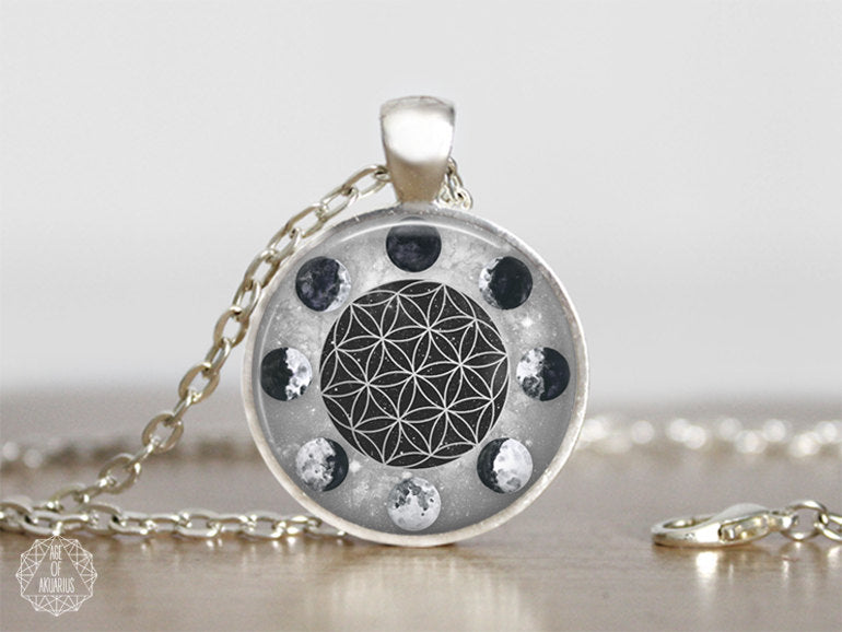 Moon phases the flower of life pendant necklace age of akuarius moon phases the flower of life pendant necklace age of akuarius mozeypictures Gallery
