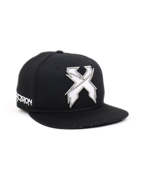 Excision 'Sliced' Logo Snapback Hat - Black/White/Silver