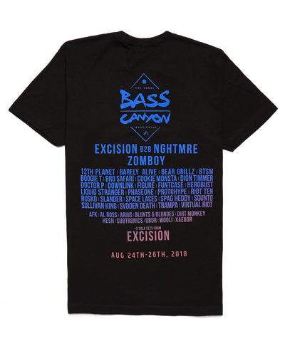 Bass Canyon 2018 Festival Lineup T-Shirt - Black