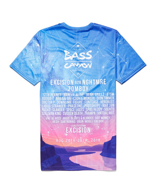 e910bf0f3800 Official Bass Canyon 2018  Sunset  Tee - Blue Pink
