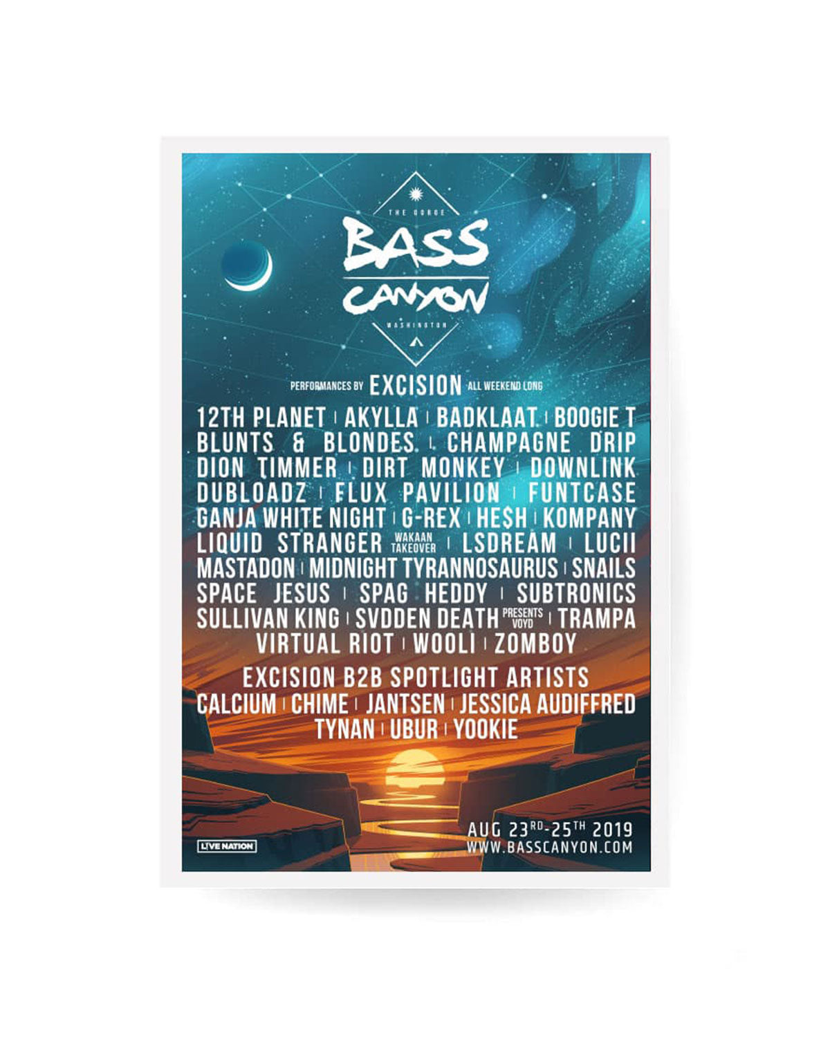 Excision 'Bass Canyon 2019' Line Up Poster