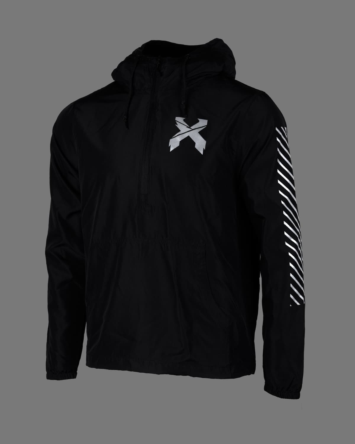 Excision 'Sliced' Logo Reflective Lightweight Pullover Anorak Jacket