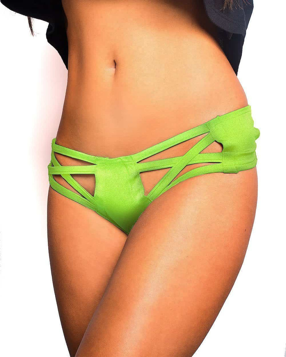 Excision X Cross Cut Out Booty Shorts - Neon Green