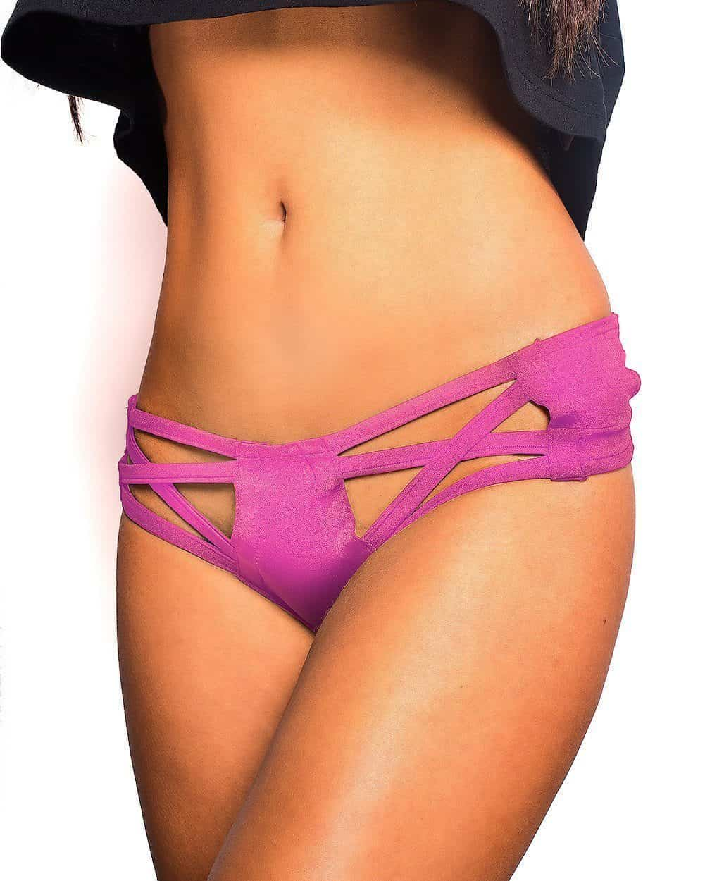 Excision X Cross Cut Out Booty Shorts - Neon Pink