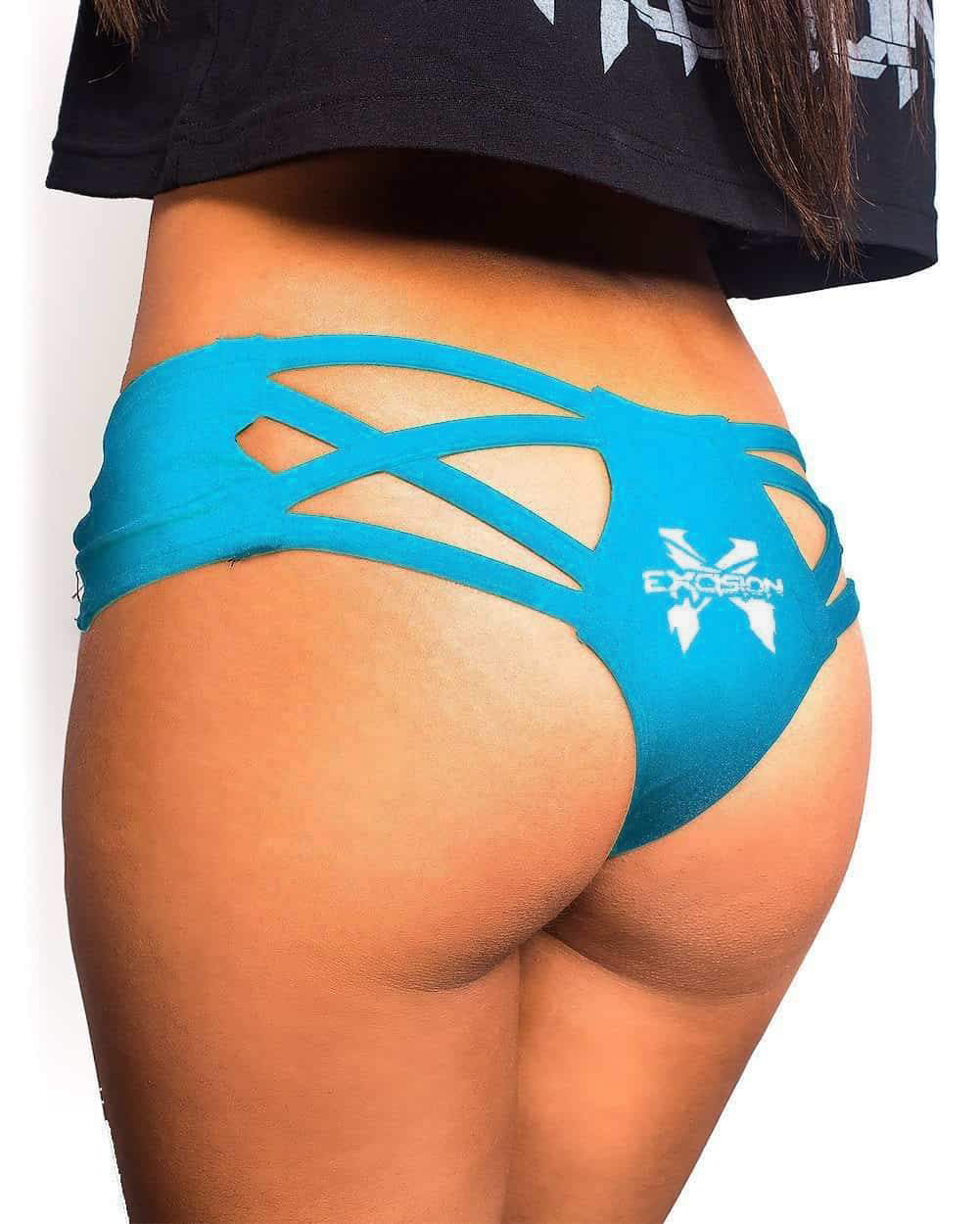 Excision X Cross Cut Out Booty Shorts - Turquoise