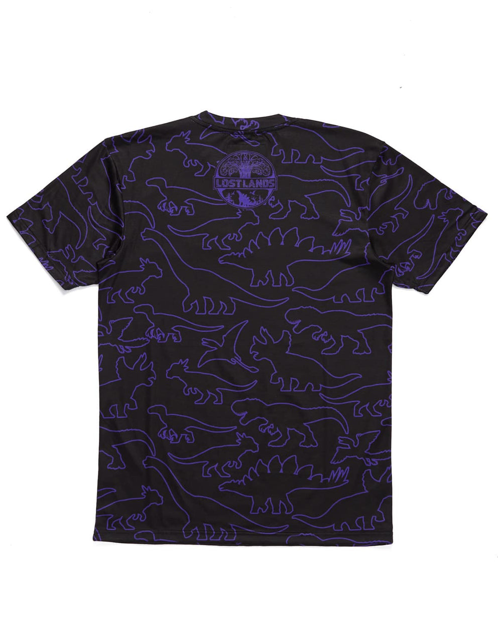'Dino Pattern' Dye Sub Tee - Black/Purple