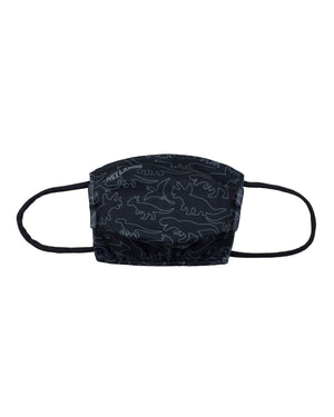 'Dino Pattern' Face Mask - Black/Grey