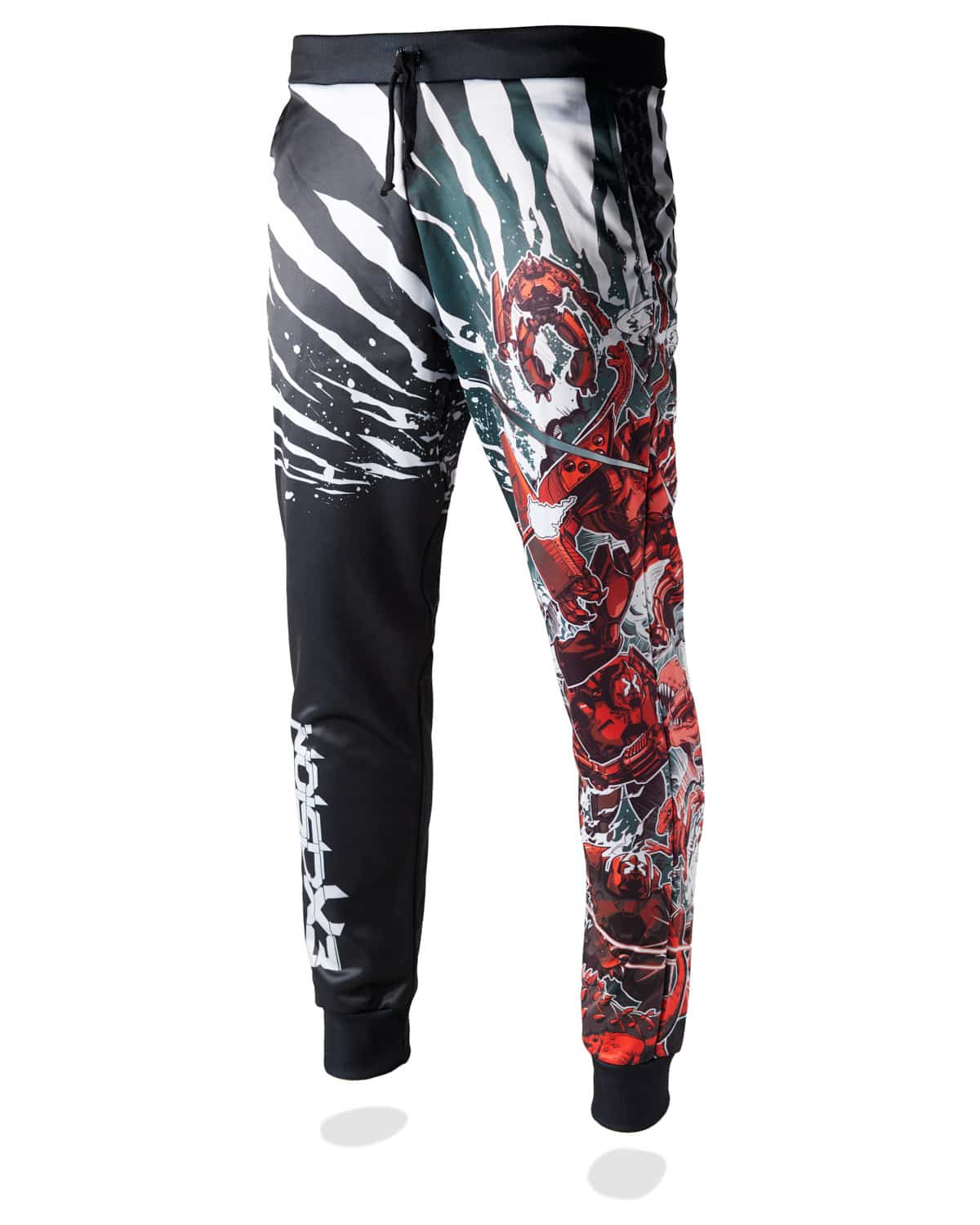Excision 'Dino vs. Robot' Joggers - Red