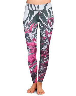 Excision 'Dino vs. Robot' Leggings - Pink