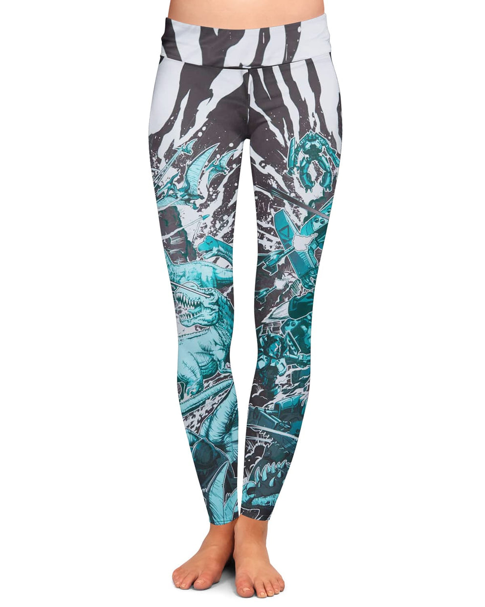 Excision 'Dino vs. Robot' Leggings - Teal
