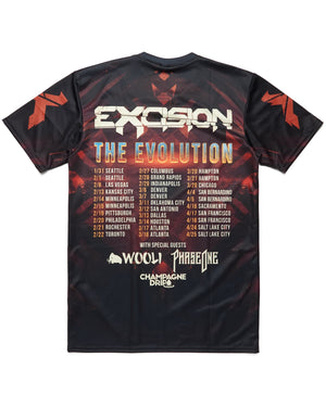 Evolution Tour Dye Sub Tee - Black/Orange/Red