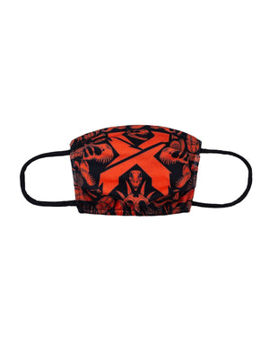 'Fossil Rex' Face Mask - Red/Black
