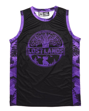 'Geo Foliage' Dye Sub Basketball Jersey - Purple