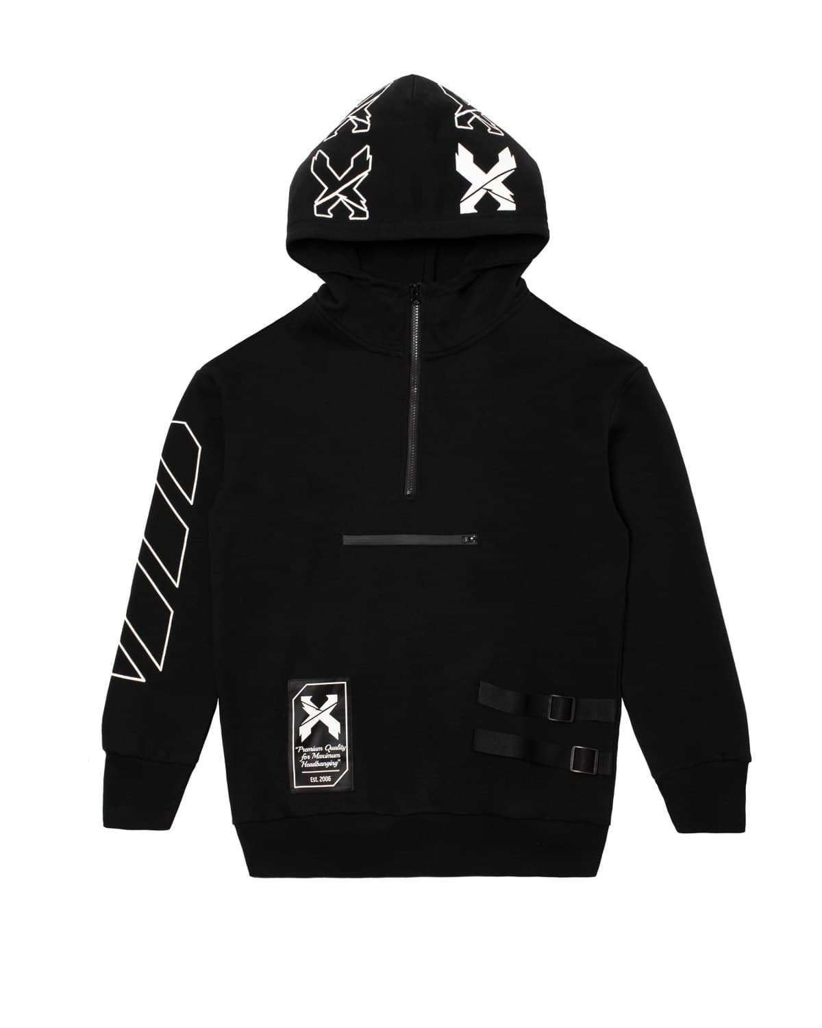 Excision Half Zip Pull Over Tech Hoodie - Black