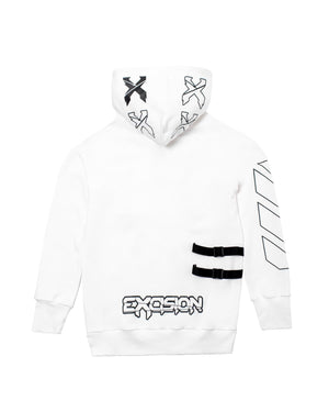 Excision Half Zip Pull Over Tech Hoodie - White