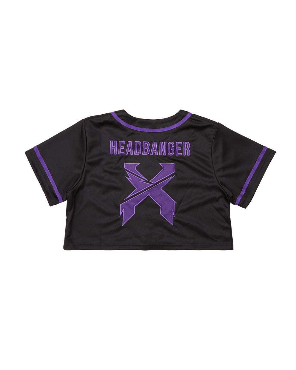 Excision Women's Crop Top Baseball Jersey - Black/Purple