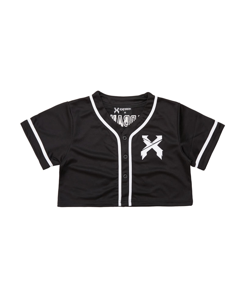 Excision Women's Crop Top Baseball Jersey - Black/White