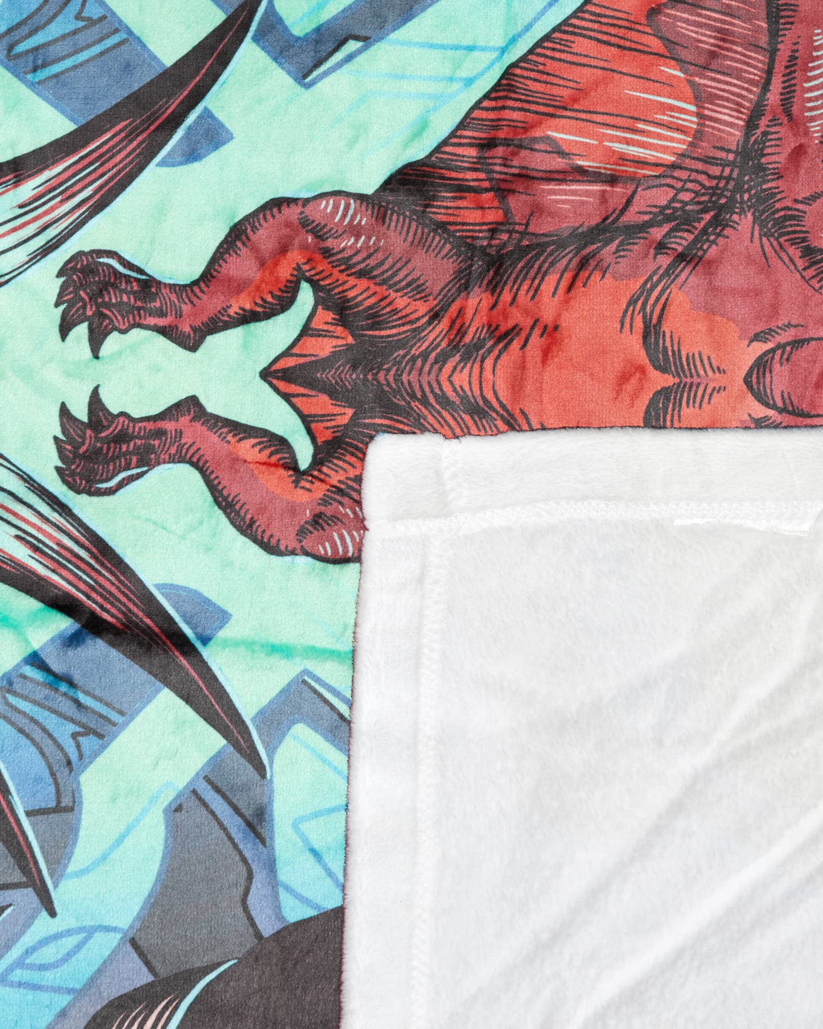 'DinoX' Blanket - Red/Teal/Black