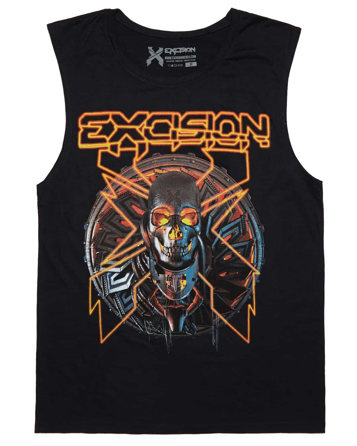 Excision Lazer Skull Unisex Sleeveless T Shirt Red