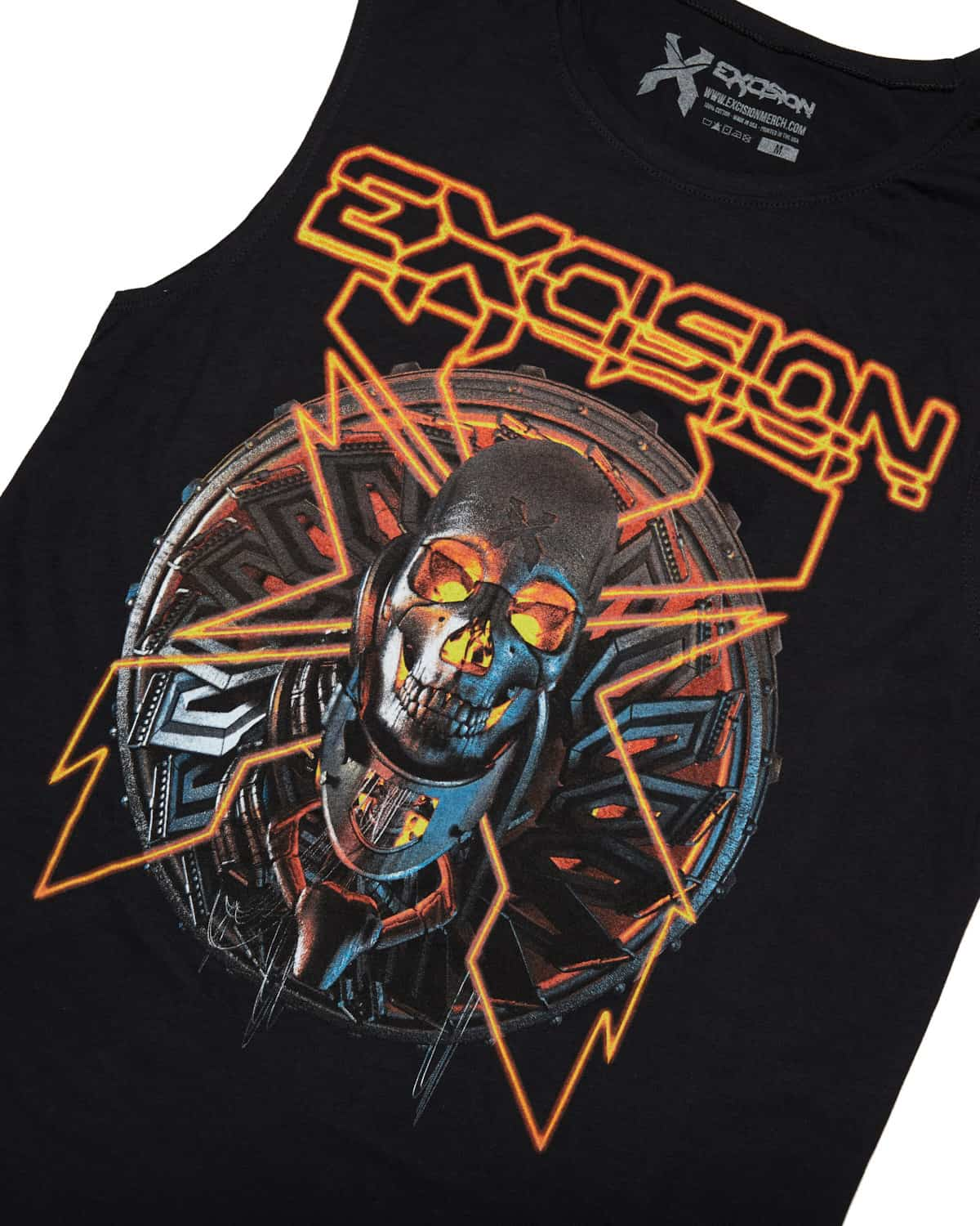 Excision 'Lazer Skull' Unisex Sleeveless T-Shirt - Red
