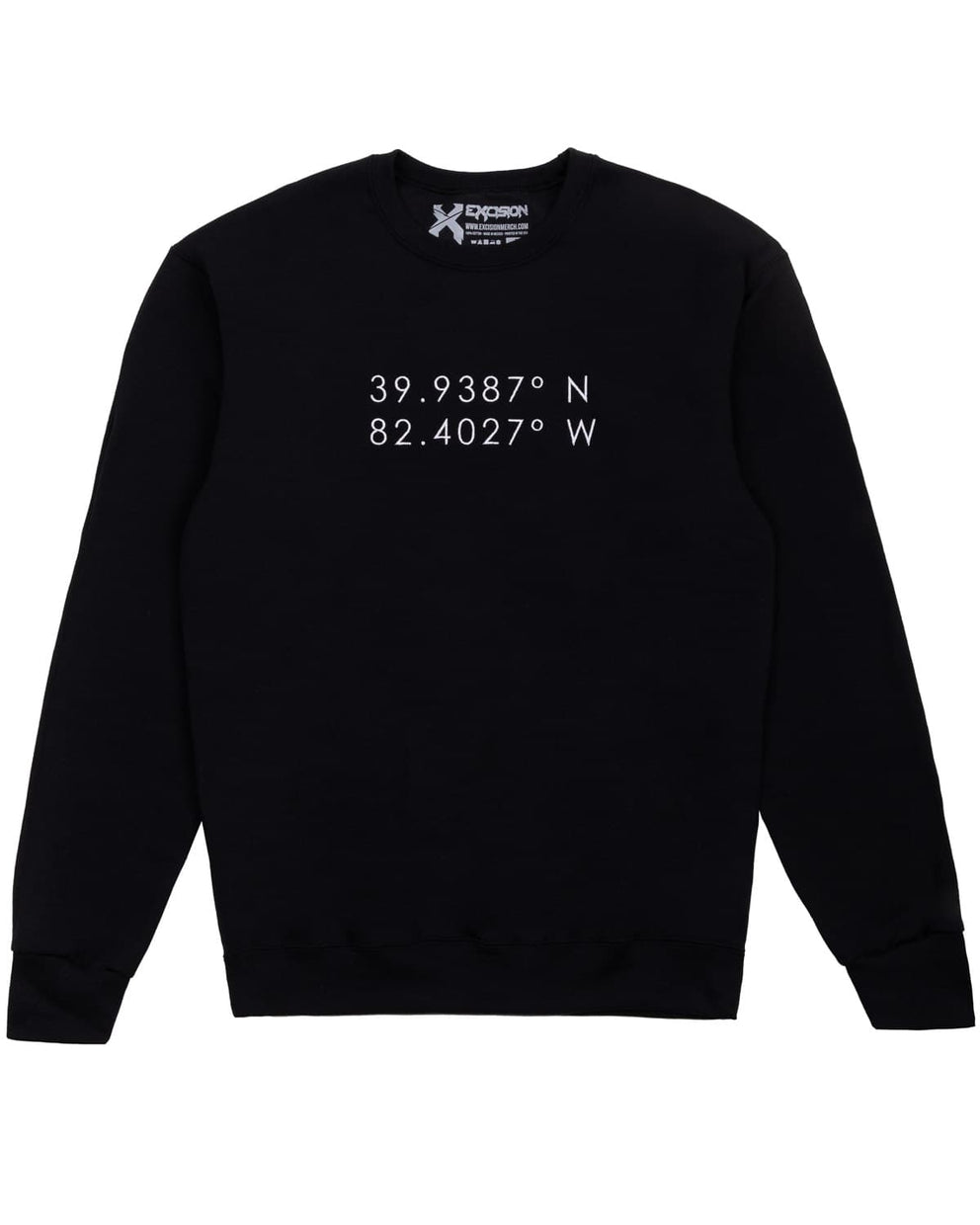 Lost Lands ' Coordinates' Embroidered Crewneck Sweatshirt - Black