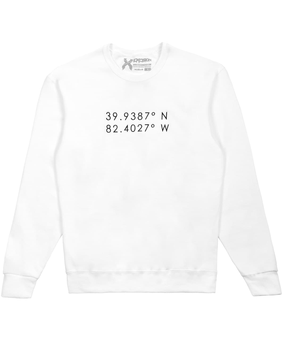 Lost Lands ' Coordinates' Embroidered Crewneck Sweatshirt - White
