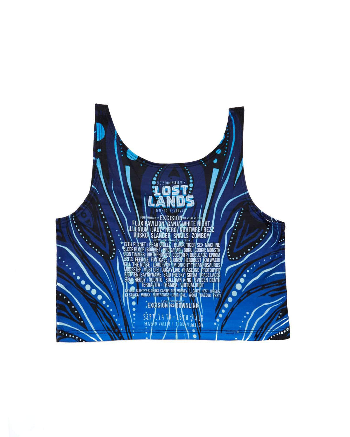 Lost Lands 'Crop Circle' Women's Dye Sub Crop Top (Blue)