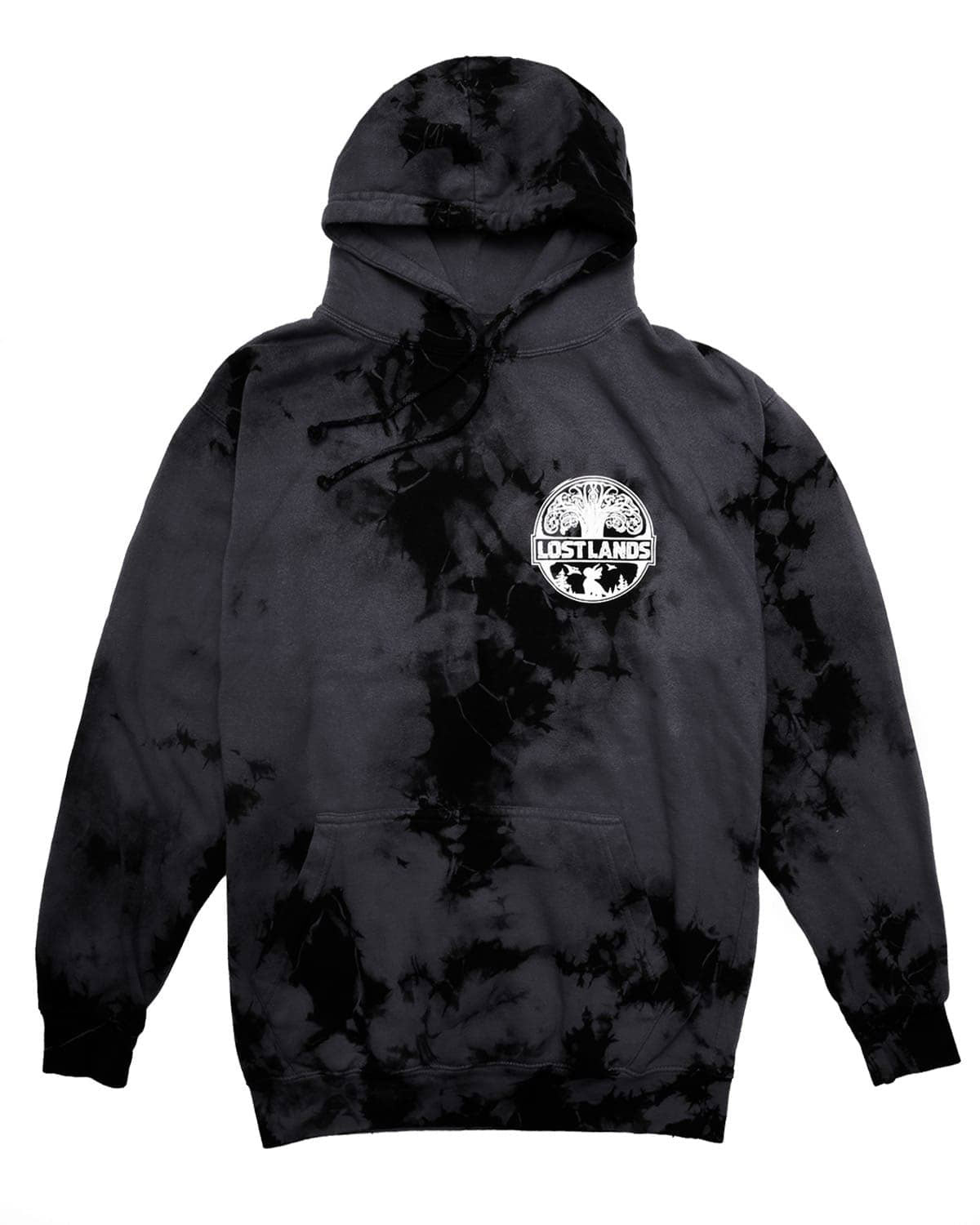 Official Lost Lands Tie Dye Pull Over Hoodie - GreyBlack