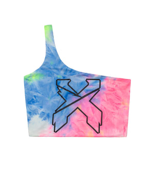 'Sliced' Logo One Shoulder Crop Top - Rainbow/Black